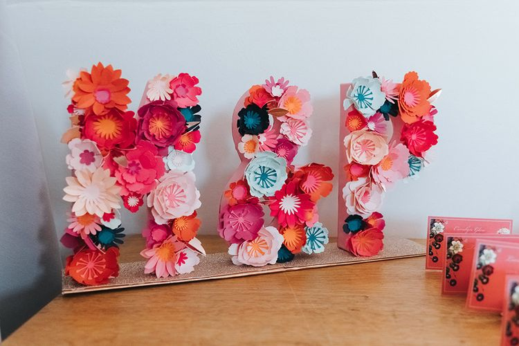 Initials Décor Crafted from Paper Flowers | Meringue Kisses & Colourful Wedding Flowers & Stationery for a London Wedding at The Globe | Miss Gen