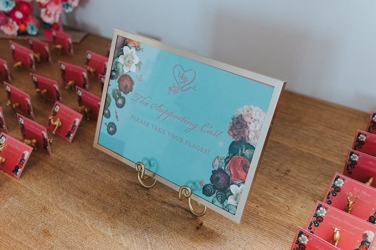 Duck Egg Blue Escort Card Sign in Gold Frame | Pink Escort Cards | Gold Animal Card Holders | Meringue Kisses & Colourful Wedding Flowers & Stationery for a London Wedding at The Globe | Miss Gen