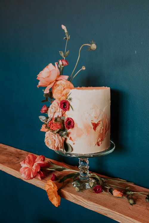 Tall Single Tier Ombre Wedding Cake Decorated with Coral Flowers