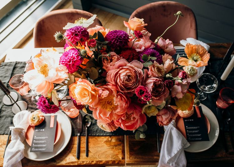 Living Coral, Pink and Fuchsia Wedding Flower Centrepiece