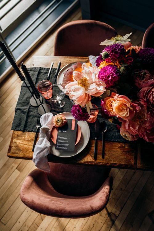 Retro Place Setting with Black, White and Living Coral Table Decor, Flowers and Stationery