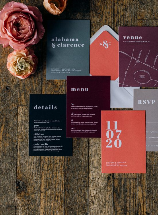 Black, White, Grey, Living Coral and Burgundy Statement Wedding Stationery Suite