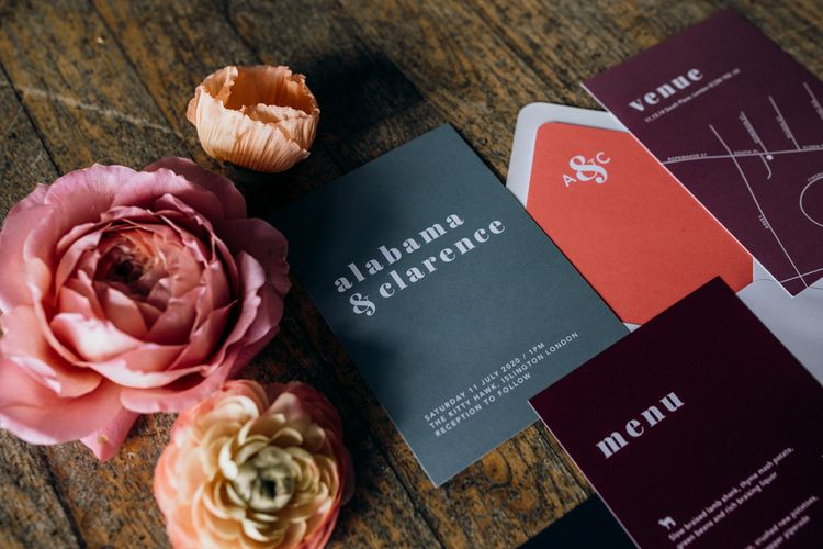Black, White, Grey, Living Coral and Burgundy Statement Wedding Stationery Suite by  Sam Wood