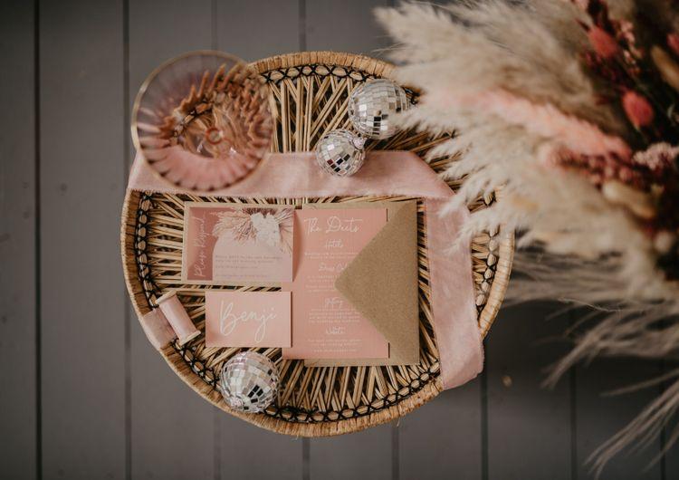 Blush pink wedding stationery suit from Wonderland invites