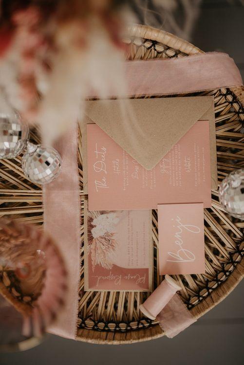 Blush pink wedding invitation by Wonderland Invites