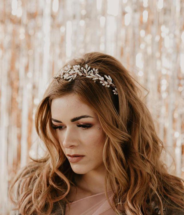 Bridesmaid makeup with smokey eyes and headdress
