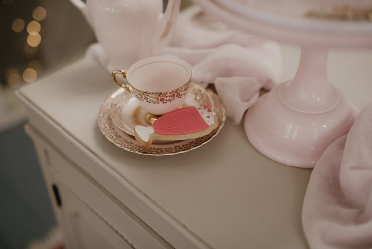 Vintage china tea cup and Ice-cream sundae biscuit