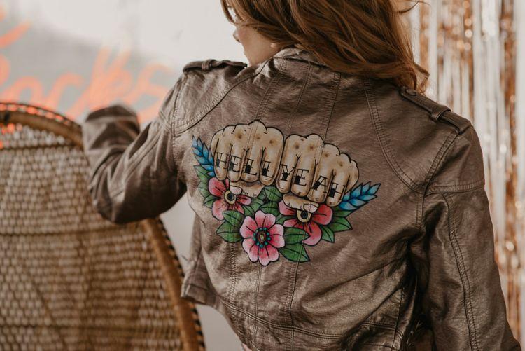 Customised Pewter Leather Jacket