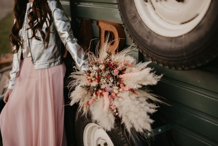 Dried flower bouquet with pampas grass and foliage