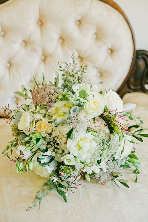 White and Green Romantic Wedding Bouquet Flowers