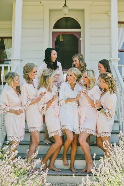 Bridal Party in Pink and White Wedding Morning Getting Ready Robes