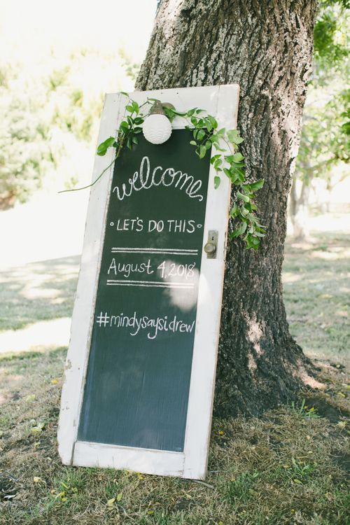Vintage Door Painted with Chalk Paint Made into Wedding Sign