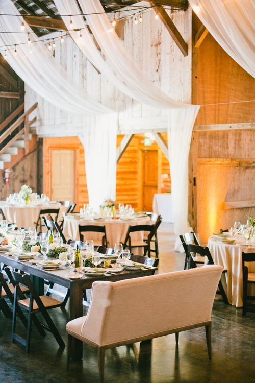 Ranch Wedding Reception Decor including  Drapes and Love Seat