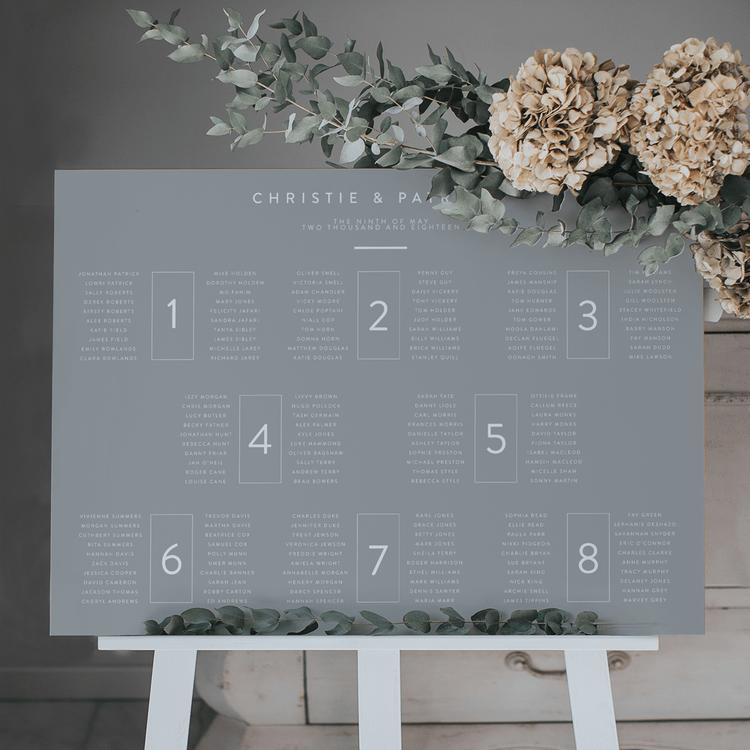 Elegant And Minimal Table Plan For Wedding // Lilac And White Design // Cornelia Lietz Photography