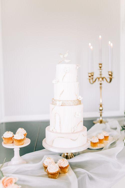Four Tier Elegant Wedding Cake with Gold Glitter Detail