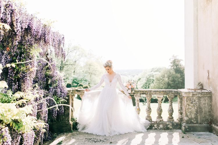 Bride in Fairytale Wedding Dress with Tulle Skirt
