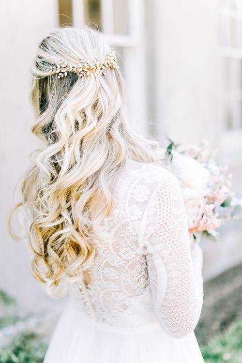 Half Up Half Down Wavy Hair with Jewel Hair Clip