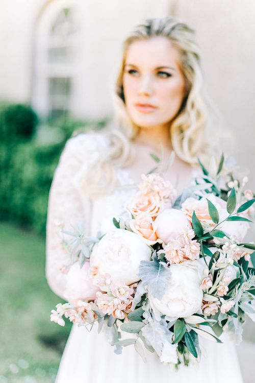 White Peony, Peach Rose and Foliage Wedding Bouquet