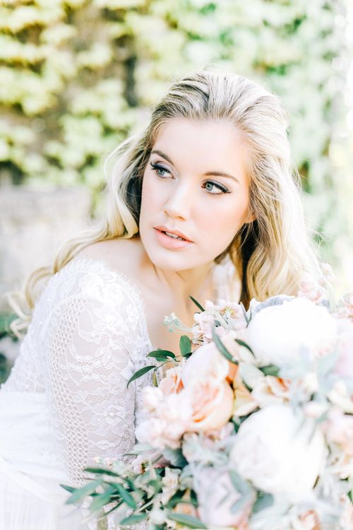 Natural Bridal Makeup with with Winged Eyeliner and Nude Lipstick
