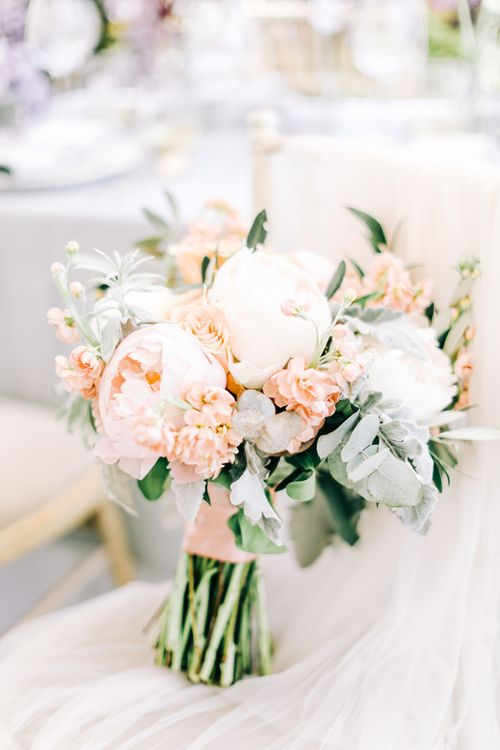 White and Peach Wedding Bouquet with Foliage, Peonies, Stocks and Roses