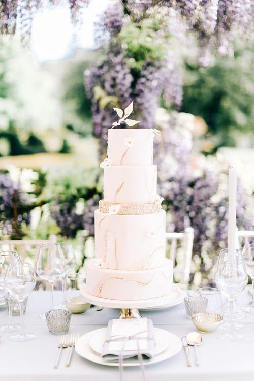 Elegant Blush Pink Wedding Cake with Gold Glitter Detail