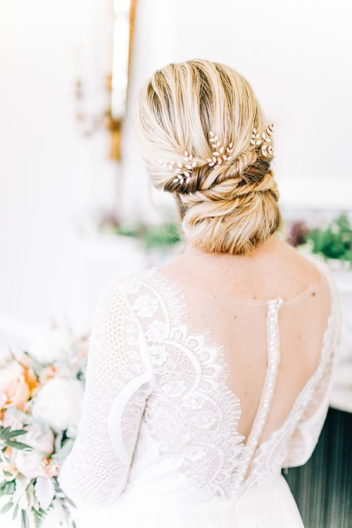 Chic Chignon Bridal Up Do with Hair Accessory