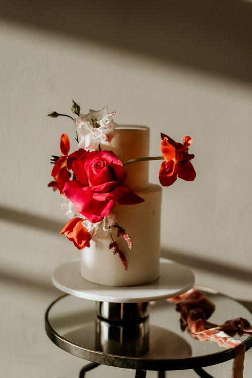 Minimalist Two Tier Wedding Dress with Red Wedding Flowers