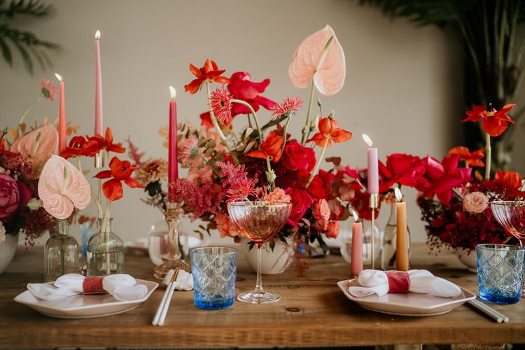 Red and Pink Floral Centrepiece Flowers with Anthurium Flower Stems