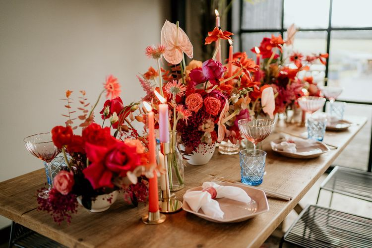 Red and Pink Floral Centrepiece Flowers and Table Decorations