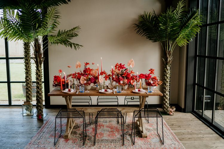 Palm Trees and Modern Tablescape at Botley Hill Barn Wedding Venue in Surrey