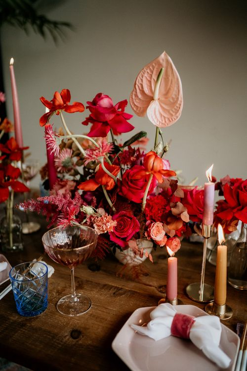 Red and Pink Wedding Flowers and Table Decorations