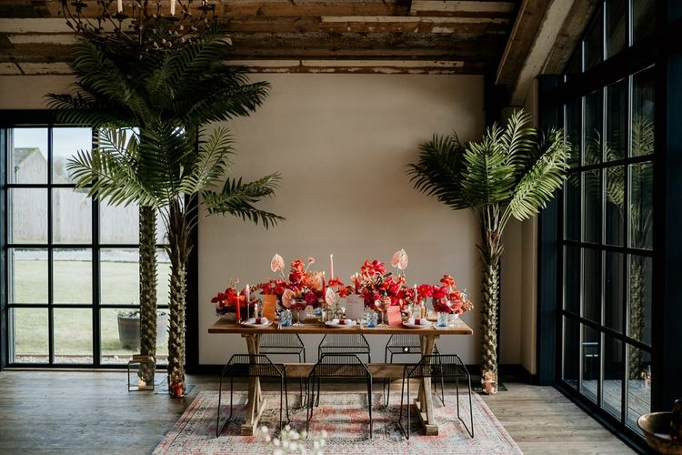 Intimate Tablescape with Pink and Red Wedding Flower Centrepieces
