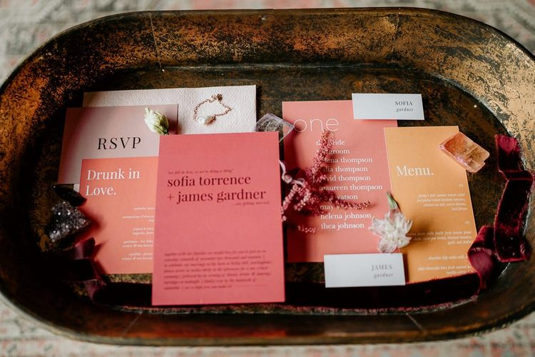 Modern Wedding Stationery in Pink, Coral and Peach Colours and Bold Fonts