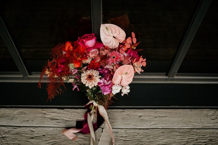 Red and Pink Bridal Bouquet Ties with Ribbon