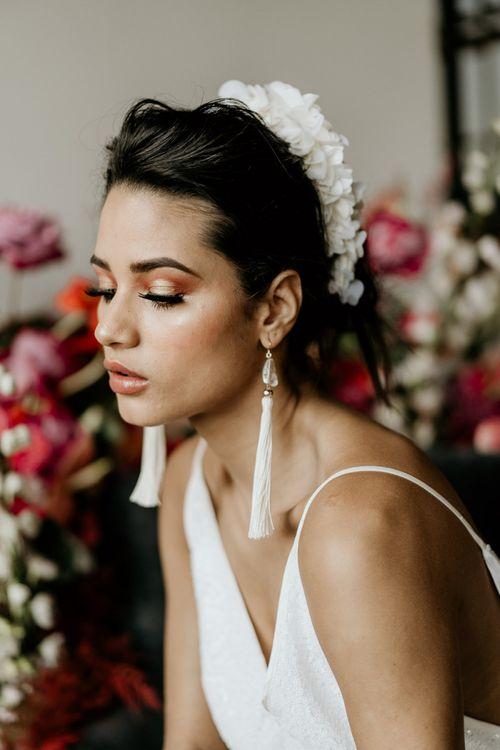 White Tassel Bridal Earrings and Headdress