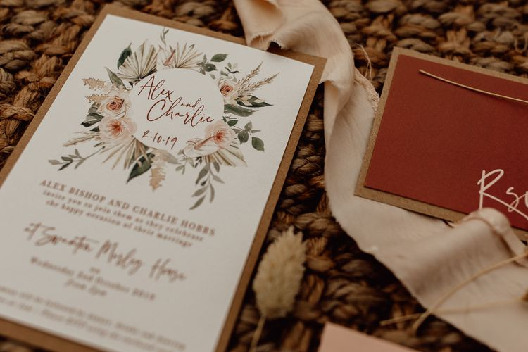 Natural Wedding Stationery Suit by Wonderland Invites with Floral Motif