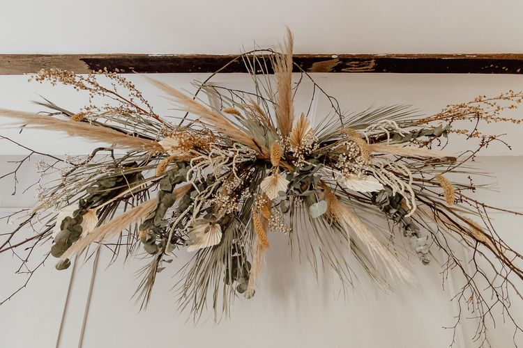 Dried Flower Installation with Twigs, Pampas Grass,  Palm Leaves and Eucalyptus