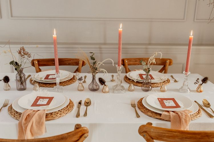 Fine Dining Table Decor with Candles and Napkins