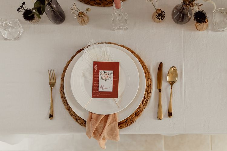 Place Setting with Wicker Place Map, Linen Napkin and Floral Menu Card