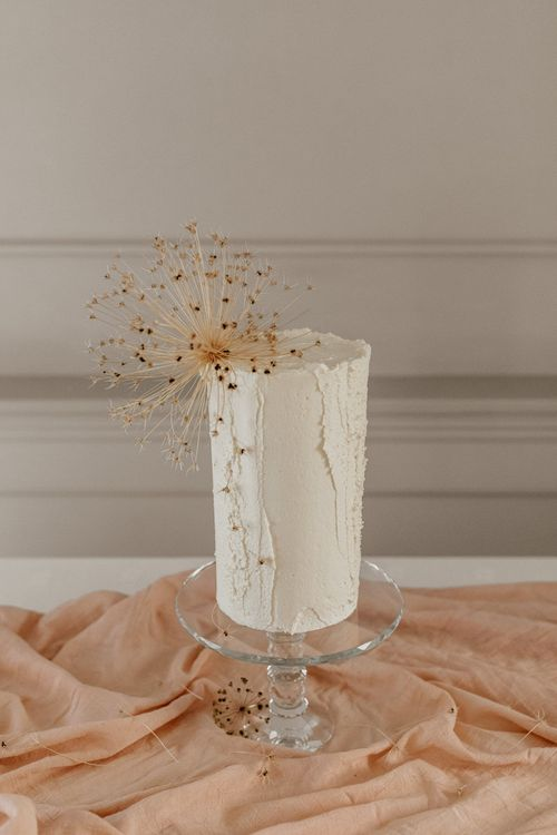 Tall Buttercream Wedding Cake with Dried Allium Seed Cake Topper
