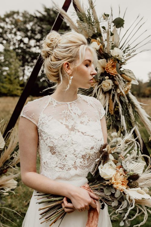 Elegant Bride with Tied Up Hair and Lace Top