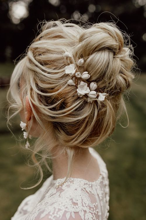 Loose Bun Bridal Up Do with Delicate Hair Accessory