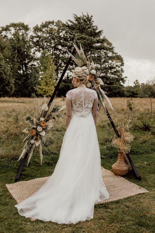 Boho Bride in Bridal Separates at the Altar