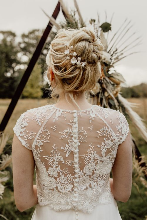 Delicate Lace Bridal Top with Buttons Down the Back