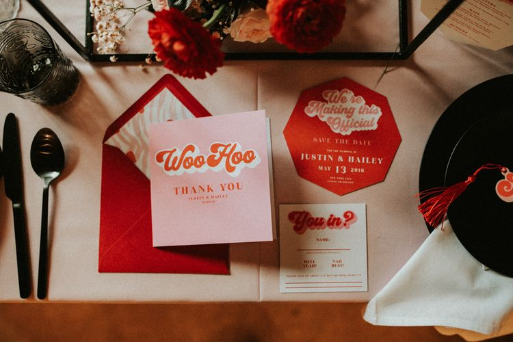 Retro pink and red wedding stationery