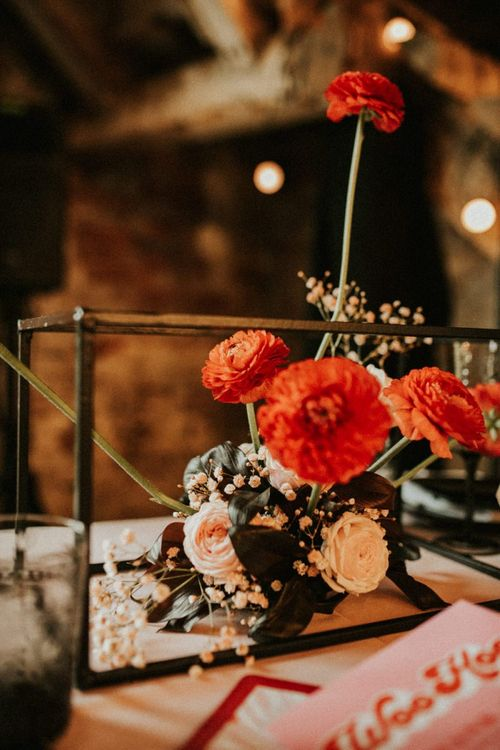 Red ranunculus wedding flowers