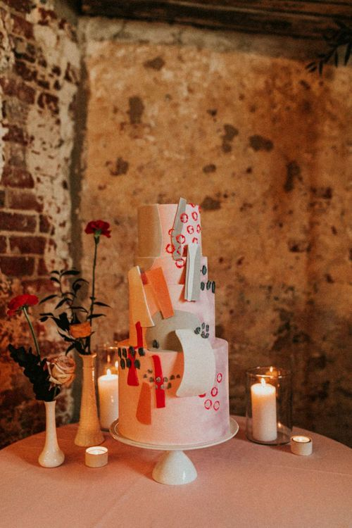 Retro wedding cake design at Godwick Great Barn