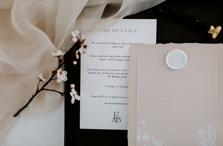 modern wedding stationery ideas with wax seal