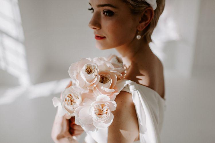 Pale pink David Austin rose wedding bouquet