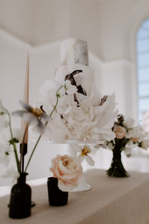 Wedding cake decorated with open flower